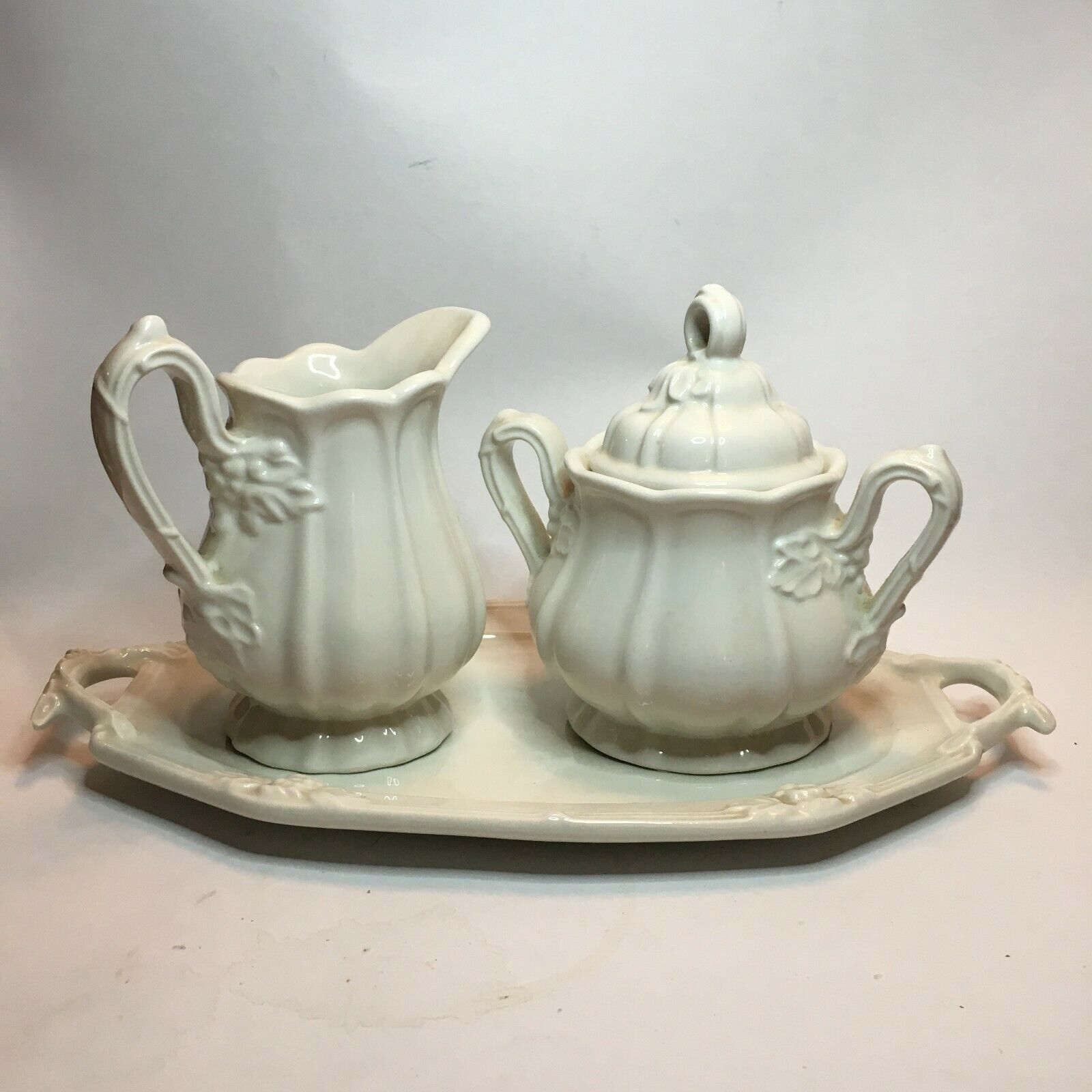 Vintage Red Cliff Ironstone Cream Sugar Tray - $50.00