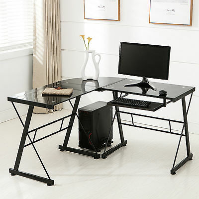 L-Fit Corner Computer Desk PC Glass Laptop Table Workstation Home Office Moonless
