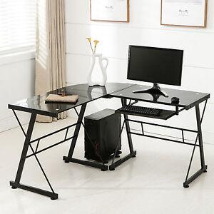 lshape corner computer desk pc glass laptop table workstation home office black