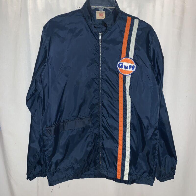 Vintage Gulf Oil Service Station Windbreaker Jacket Uniform Mens Small
