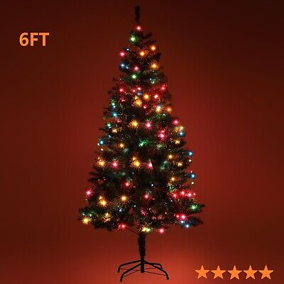 6FT Artificial Christmas Tree Deluxe Pine Green Hinged LED Lights Solid Stand ()