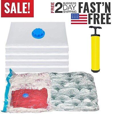 15 VACUUM SEAL Storage Bags Space Saver Garment JUMBO Large Bags + FREE Pump