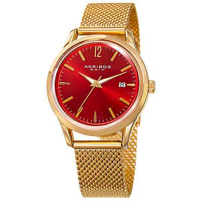 Women's Akribos XXIV AK930RD Red Dial Yellow Gold Mesh Style Date Watch