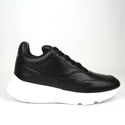 $590 Alexander McQueen Men's Black Leather Platform Sneakers 505033 1000