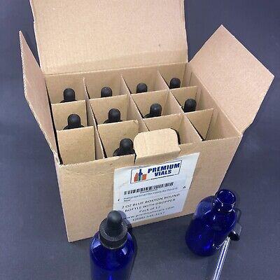 Premium Vials B37 Glass Bottles W Glass Eye Droppers2 Ozblue Pk Of 12 New