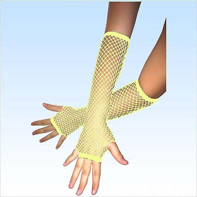 Fingerlose Netzhandschuhe Neon Gelb Abendgarderobe Netz Handschuhe Handschuh