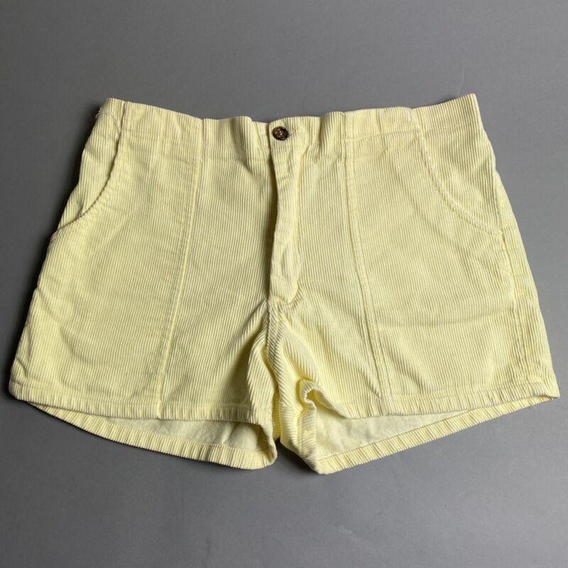 Vintage 80s California Rainbow Yellow Corduroy Mens Shorts Size 34