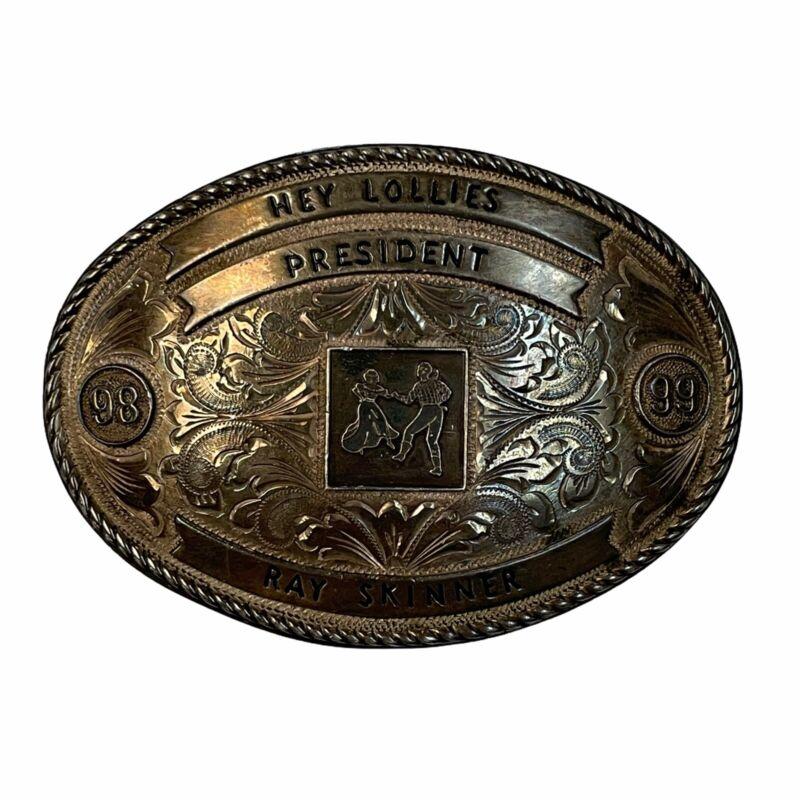 Vintage Nelson Silvia Co Belt Buckle Sterling Silver 10K Gold Western Rodeo