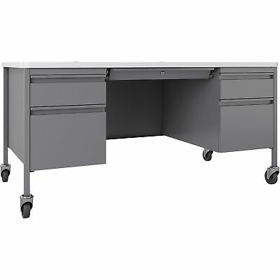 Lorell Fortress Whiteplatinum Steel Teachers Desk Llr-66946 Llr66946