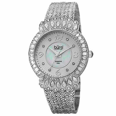 Women's Burgi BUR120SS Sparkling Diamond & Crystal Accented Silver-tone Watch