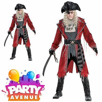 Mens Zombie Hook Pirate Captain Costume Blackbeard Jack Halloween Fancy - Captain Blackbeard Kostüm