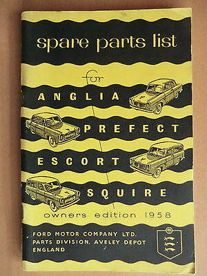 Ersatzteilliste Spare Parts List FORD ANGLIA PREFECT ESCORT SQUIRE EDITION 1958