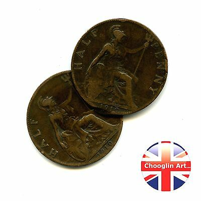 A pair of 1910 British Bronze EDWARD VII HALFPENNY Coins