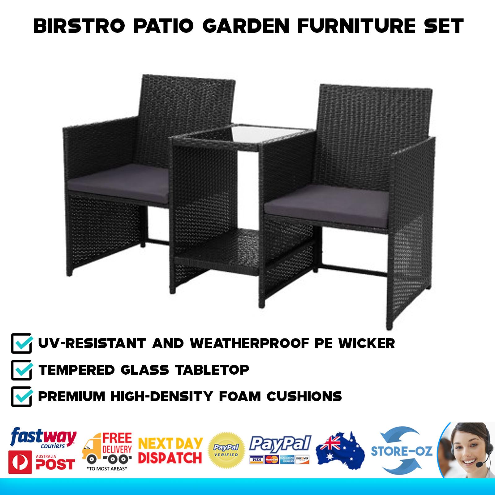 Garden Furniture -  Outdoor Furniture Chair Loveseat Birstro Set Garden Bench Seat Table 2 Seater