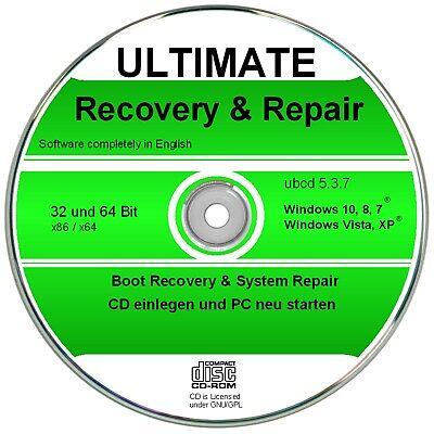 Ultimate Boot & Repair CD für Windows 10,8,7,XP,  Diagnose & Reparatur Software Englisch Boot
