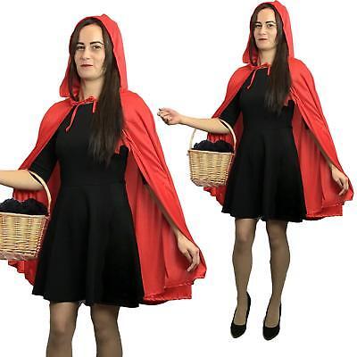 Adult Ladies Short Little Red Riding Hood Cape & Hood Cloak  Fancy Dress Party - Adult Red Riding Hood Kostüm