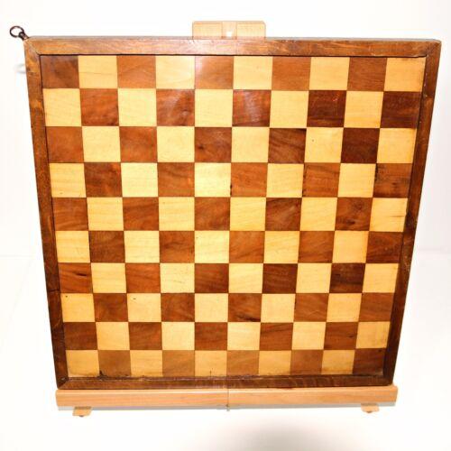English Chess / Checkers Game Board Hand Made Walnut & Maple Wood Inlay Patina