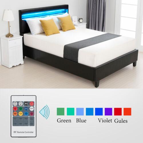 Full Leather Upholstered Metal Bed Frame Platform w/LED Ligh