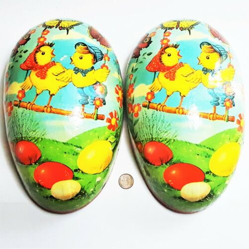 """Vintage German Easter Large Paper Mache Egg Candy Container 10"""" Duck Butterflies"""