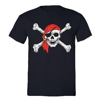 Men's Jolly Roger Skull & Crossbones Pirate Flag Military Navy T-Shirt S-5X](Pirate Shirt Men)