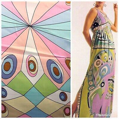 100% Silk Charmeuse Pastel Geometric 1960's Bohemian Print Fabric By The Yard 100% Silk Fabric