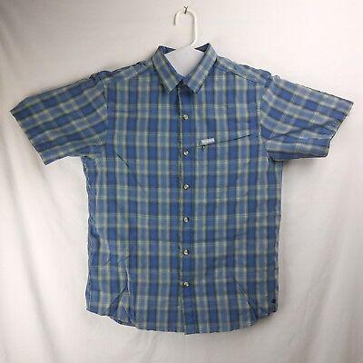 COLUMBIA Plaid Short Sleeve Button Up Shirt Sun Protection Men