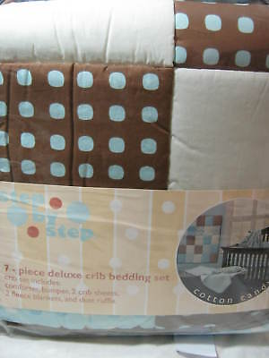 Cocoa Dots Crib Bedding - STEP BY STEP 7PC CRIB BEDDING SET COTTON CANDY ~ Blue, Chocolate, White Dots NEW