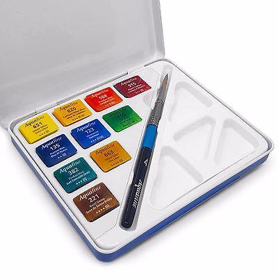 Aquafine Watercolour Paint Brush Mini Travel Set - 10 Watercolours + Brush - Mini Paint Set
