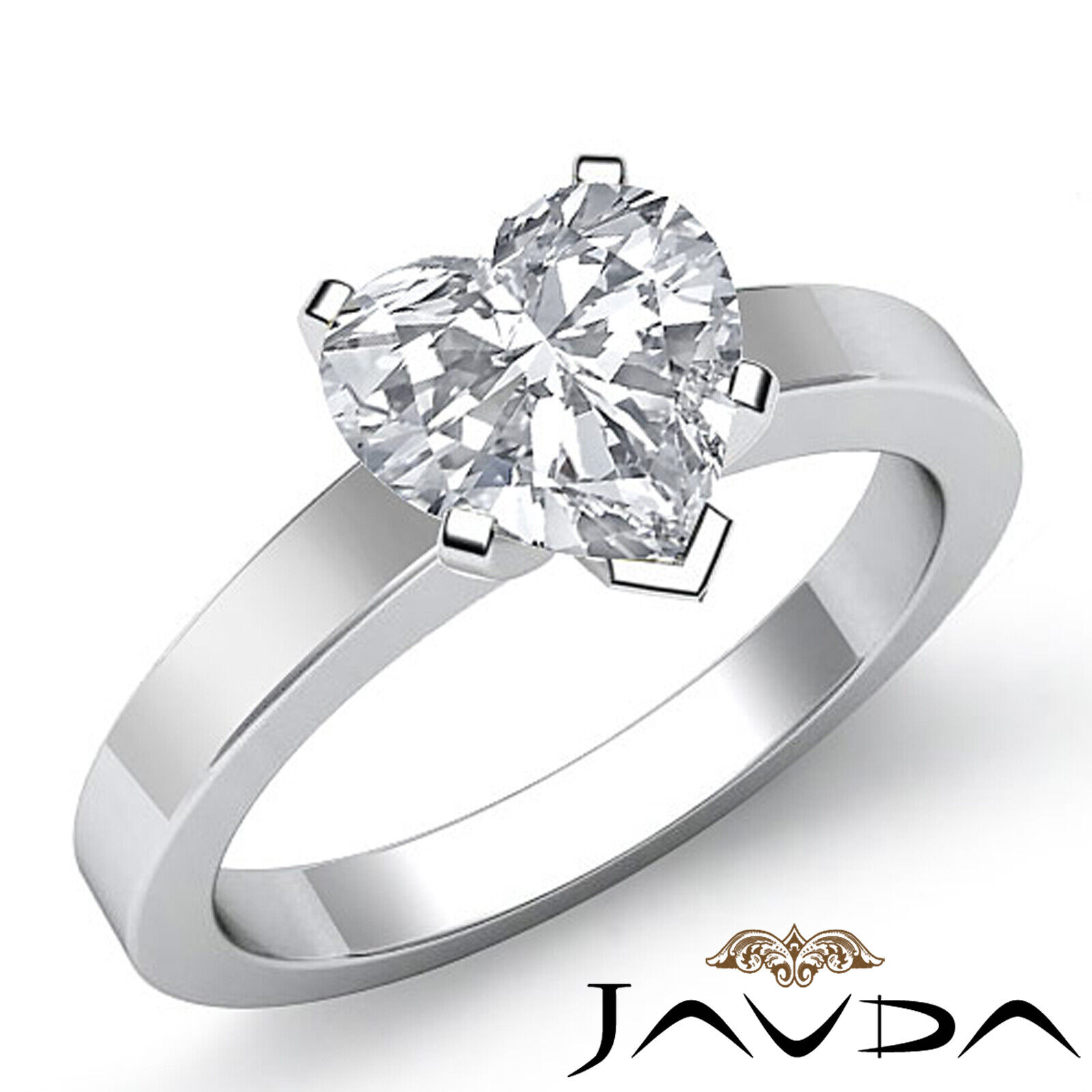 4 Prong Solitaire Heart Diamond Engagement GIA H  VS2 Gold Flat 3mm Ring 1.2 ct.