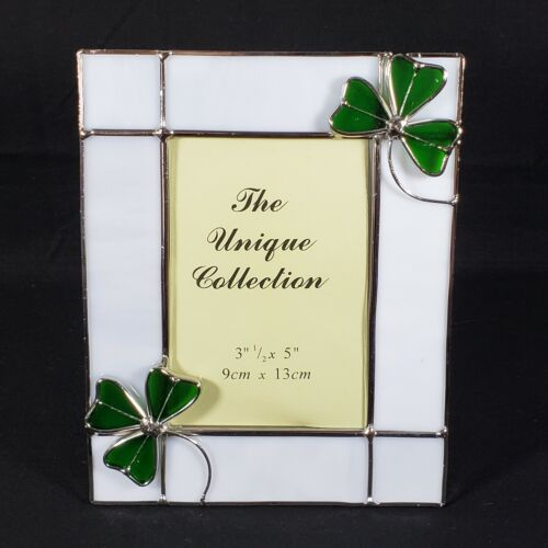 """Irish Shamrock Stained Glass Picture Frame Holds 3 1/2"""" x 5"""" Photo New in Box"""
