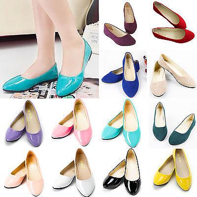 Leder Flache Schuhe (Damen Ballerina Puppe Pumps Schuhe Flache Halbschuhe Slip On Flats Leder-Optik)