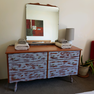 Vintage Solid Timber Dresser With Mirror Distressed Shabby Chic