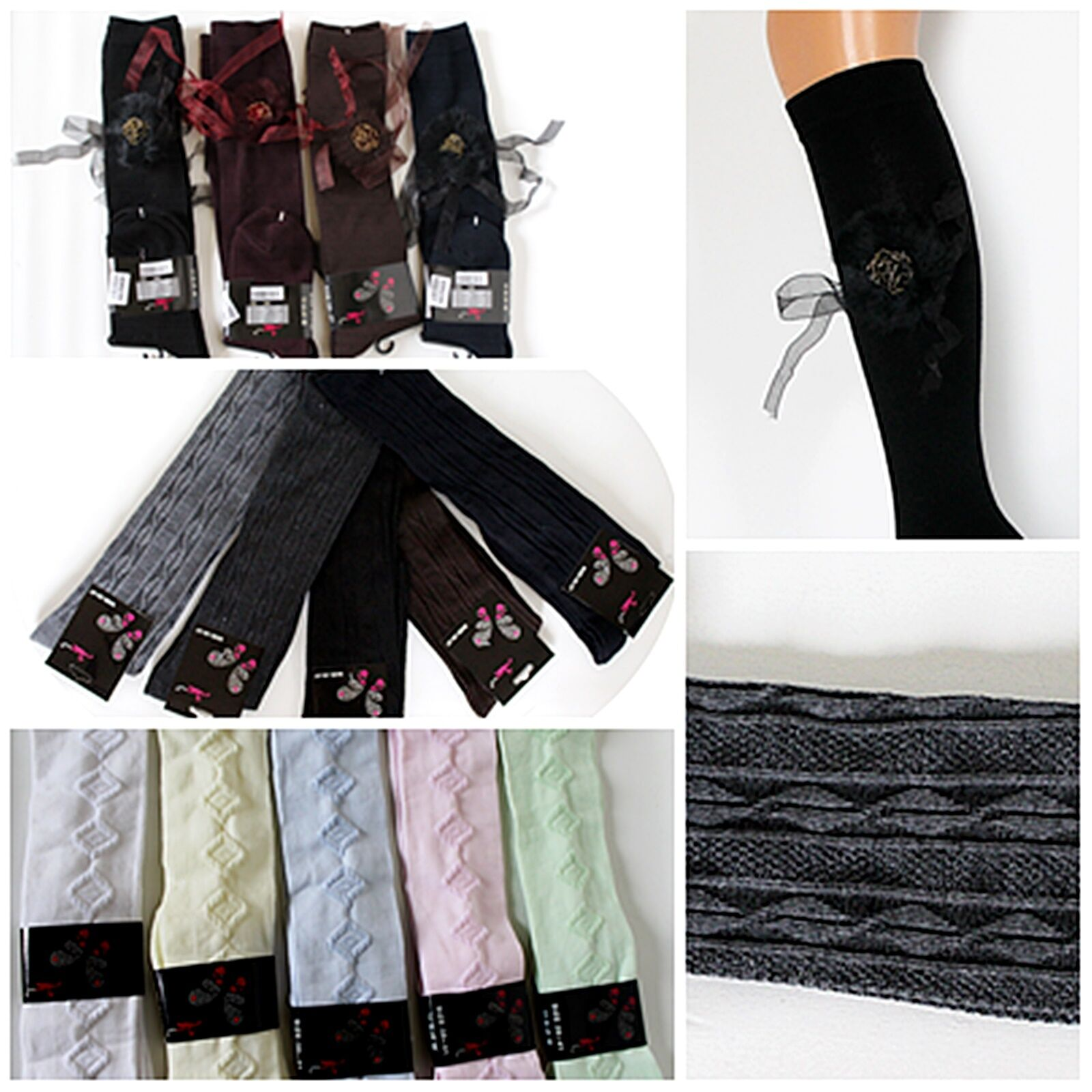 Blickdichte Baumwolle Damen Kniestrümpfe versch. Farben und Muster Kostüm Rock