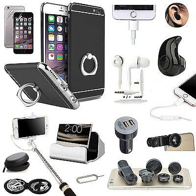 Black Ring Holder Case Cover Earphone Monopod Lens Accessory For iPhone 7 Plus