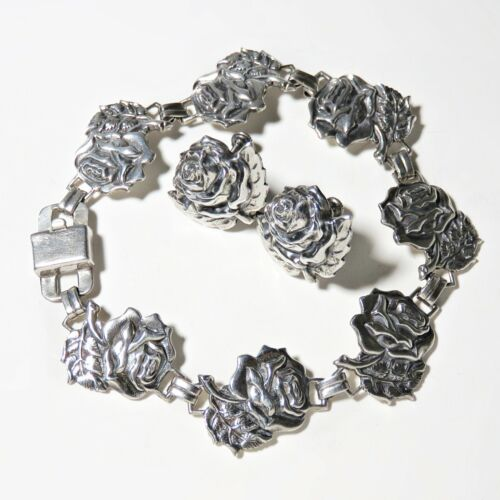 19g Sterling Silver Rose Panel link Bracelet Earring Set Patent 236854 clasp