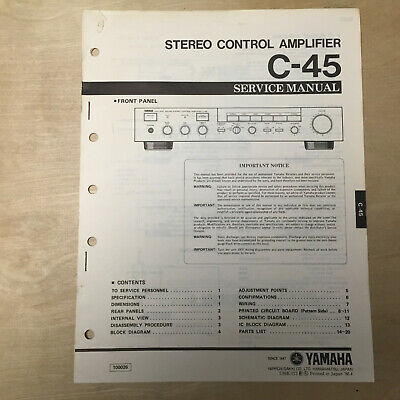 Original Yamaha Service Manual for the C45 Control Amplifier Repair comprar usado  Enviando para Brazil