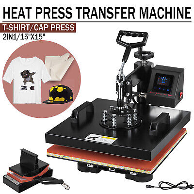 2 In 1 15x15 Digital Heat Press Machine Led Transfer Sublimation T-shirt Hat