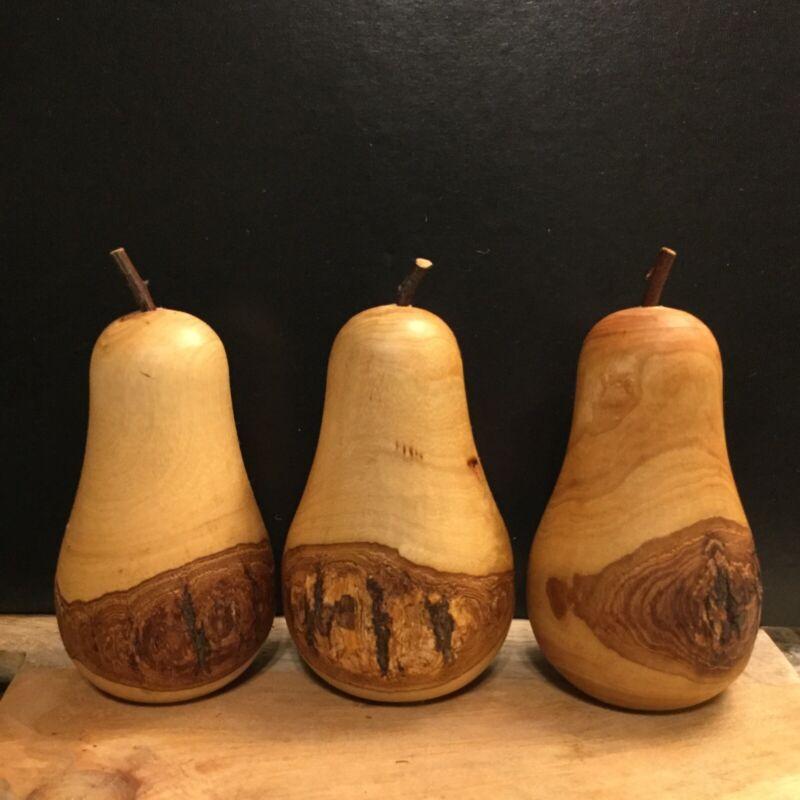 "Wooden Pears Turned Bark Live Edge Wood Stems Natural Boho Set 5"" Wood"