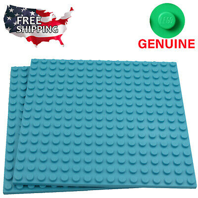 x2 Lego Medium Azure Blue Baseplates Base Plates Brick Building 16 x 16 Dots