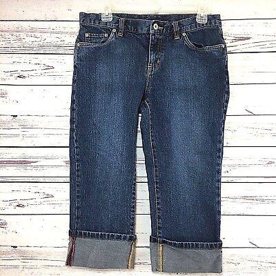 Women's COLUMBIA Denim Cuffed Cropped Stretch Jeans Flap Pocket  Blue Jean SZ  8 (Stretch Denim Cuffed Cropped Jean)