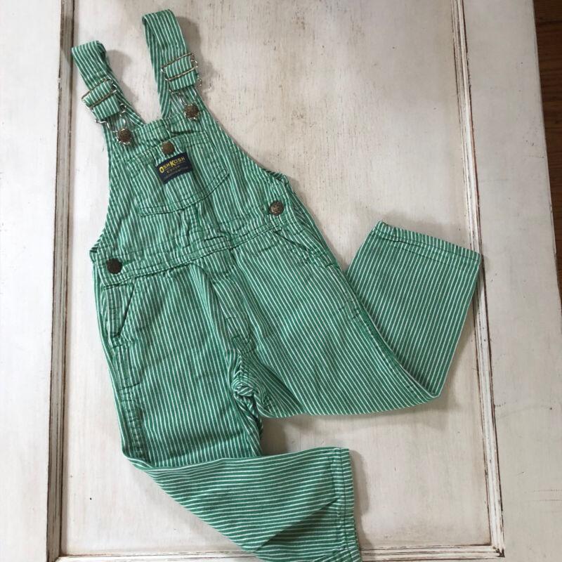 Vintage OshKosh Vestbak Overalls 3T Engineer RaIlroad Stripe Green & White USA