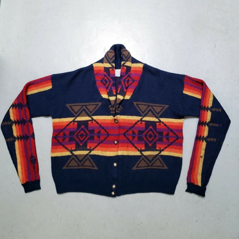 Vtg 70s 80s PENDLETON Aztec Womans Indian Shawl Collar Sweater Cardigan Sz M EUC