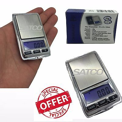 50grams x 0.01g Electronic Digital Jewelry Gold Mini Pocket Weighing Scales NEW