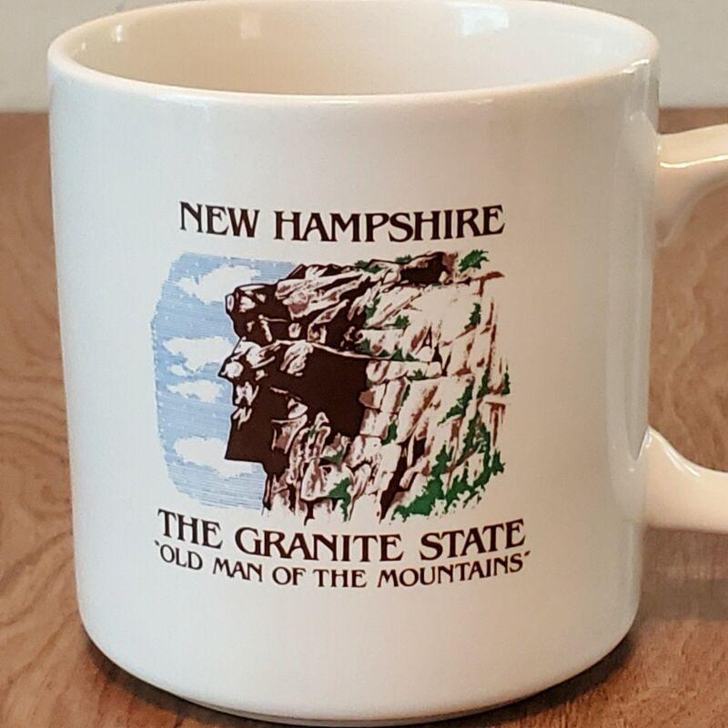 Vintage Old Man of the Mountains NH Mug Cup New Hampshire Papel White Mug EUC