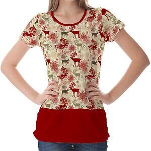 Red Retro Christmas Pattern Women Top Shirt Blouse S M L XL 2XL