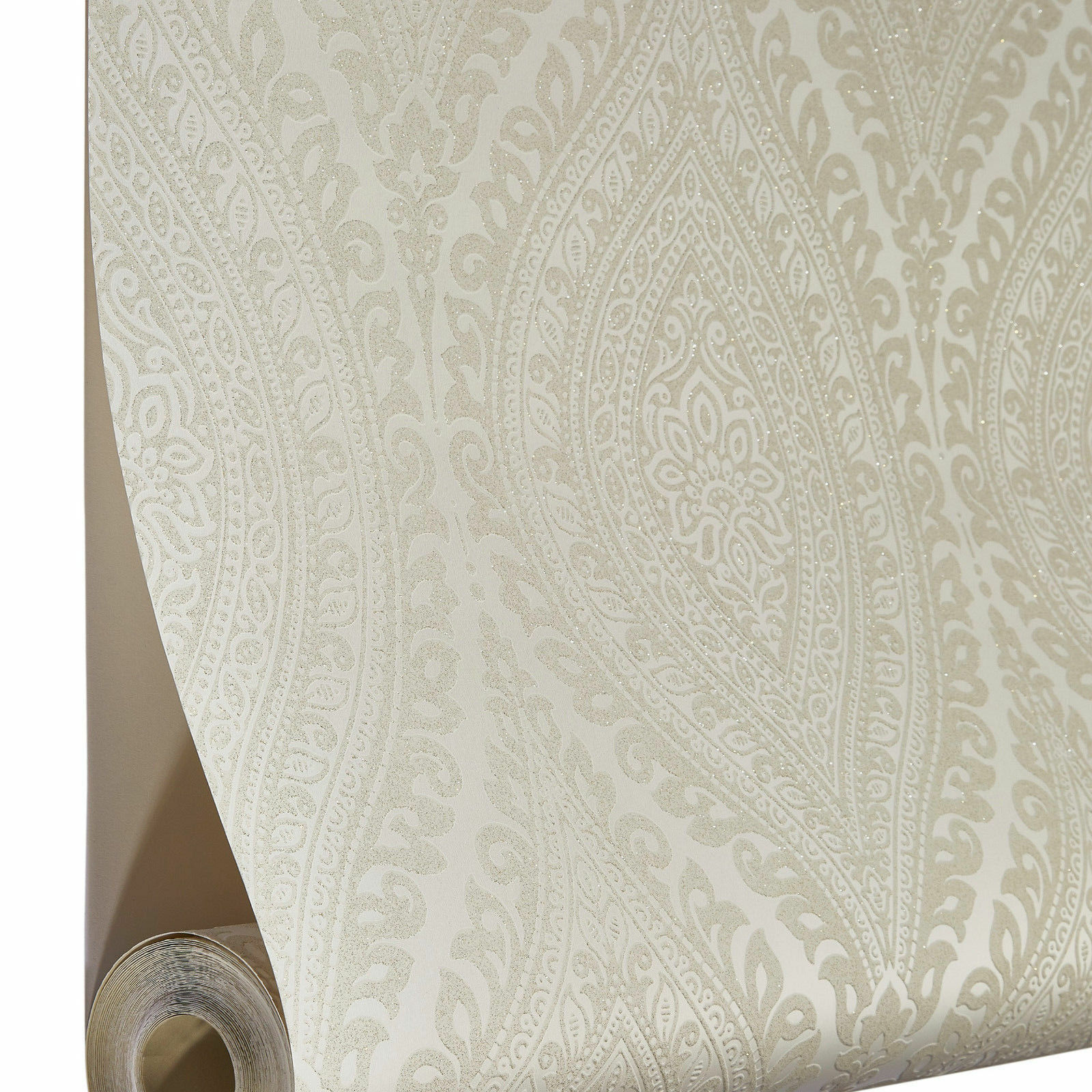 grandeco tapete luxus kismet damast mit glitzer creme beige a17701 ebay. Black Bedroom Furniture Sets. Home Design Ideas