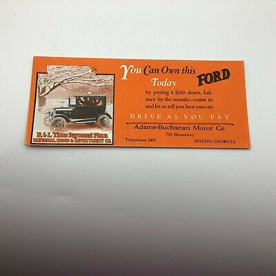 Vintage Original Ford Auto Advertising Macon GA Adams Buchanon Ink Blotter H1