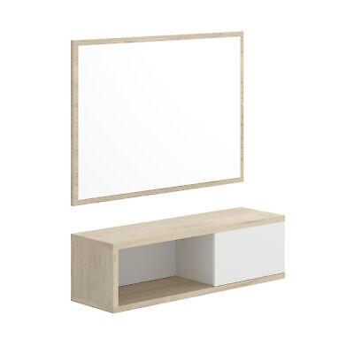 Recibidor Kam con consola y espejo Blanco - Natural