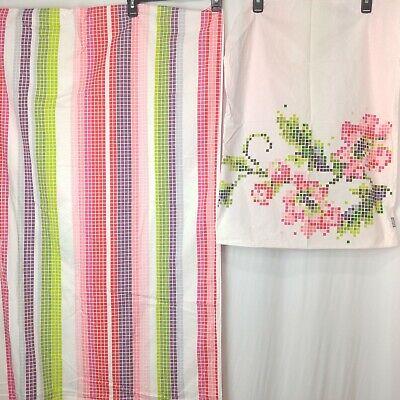 KAS AUSTRALIA Twin Duvet Cover Pillowcase Pixeled Mosaic Flower Floral Stripe