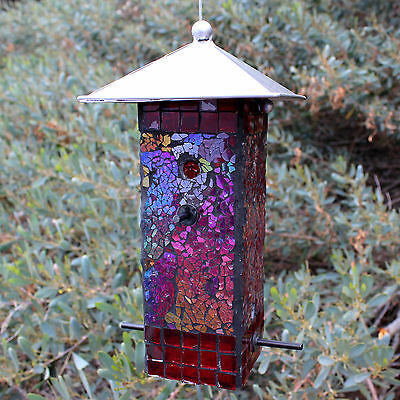 Wild Bird Seed Feeder Mosaic Stained Mirrored Glass Lift-off Metal Top EZ Fill